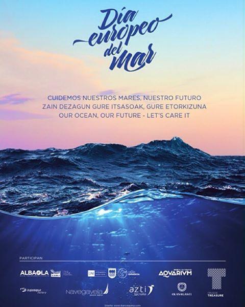 Cartel de celebración del Dia Europeo del Mar para Aquarium San Sebastián