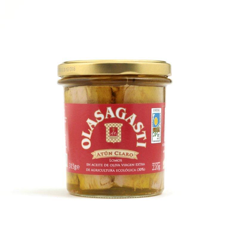 tarro de lomos de atún Olasagasti en aceite de oliva virgen extra ecológico