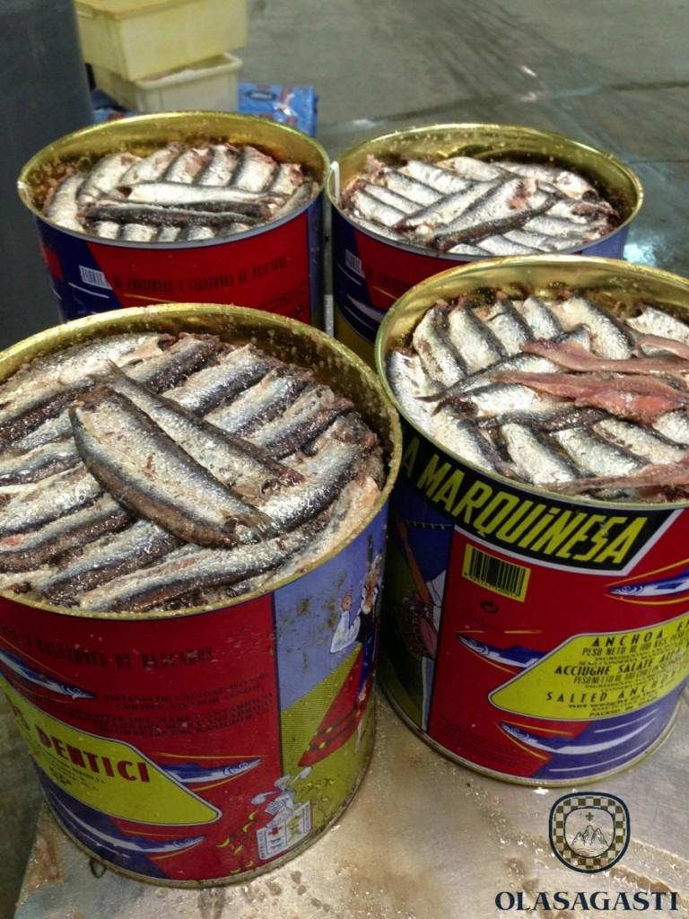 barriles de Anchoa del Cantábrico en salazón Olasagasti sin anisakis