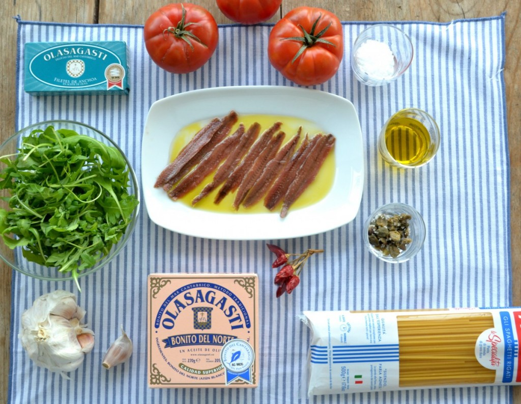 Ingredients for simple tuna pasta by jamie oliver, Olasagasti basque tuna