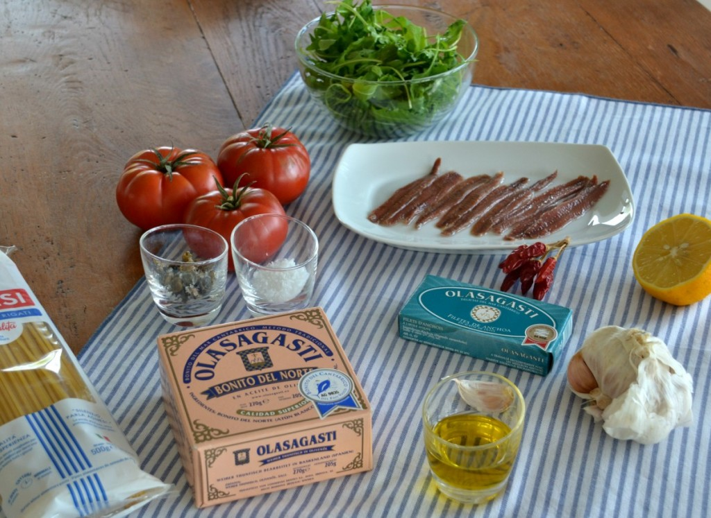 Quality Basque ingredients for tuna pasta by Jamie Oliver