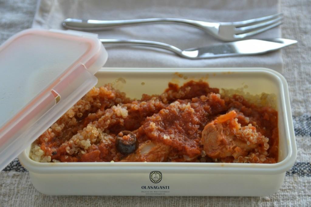 Taper de quinoa con atun en salsa de tomates secos Olasagasti