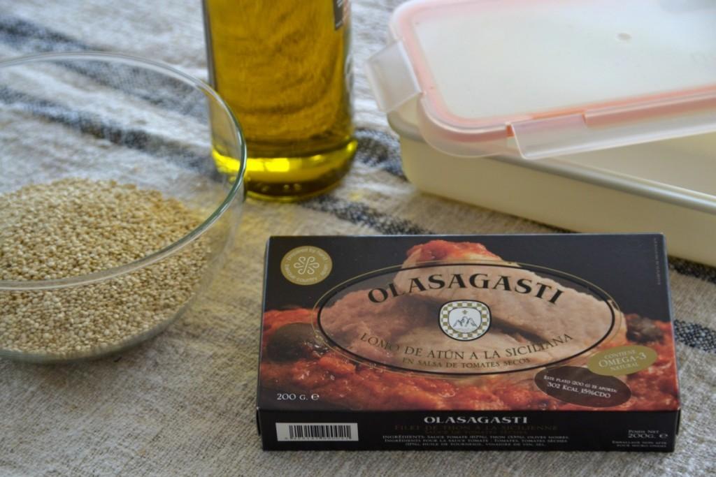 Ingredientes para táper de quinoa y atún con salsa de tomates secos