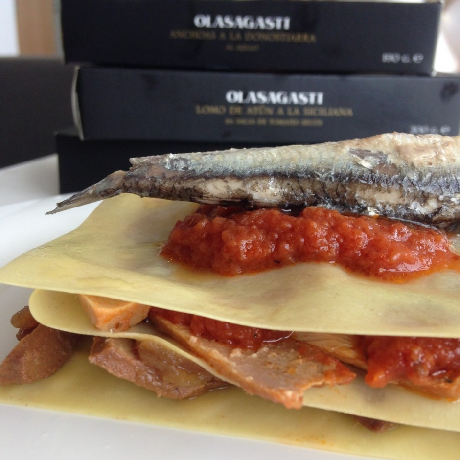 Ingredientes lasaña fácil de pescado azul y verduras Abrir y Zampar Olasagasti