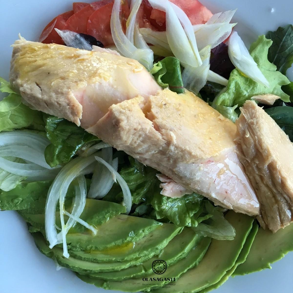 Lomos de bonito del norte en ensalada, una receta Olasagasti