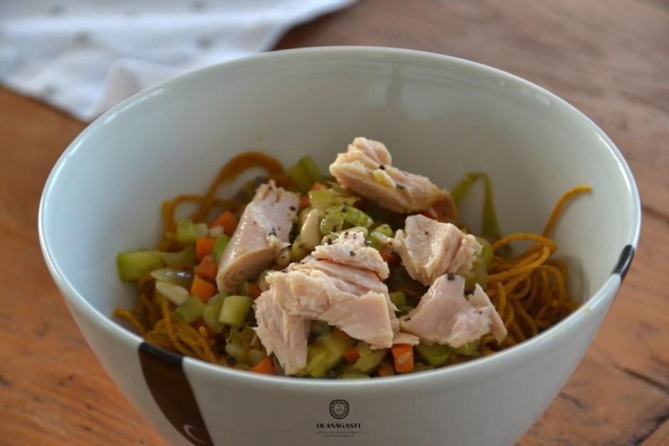 pasta con verduras y bonito del norte olasagasti