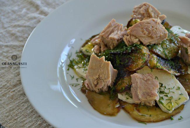 Ensalada de tofu, berenjenas y atún rojo del Cantábrico Olasagasti