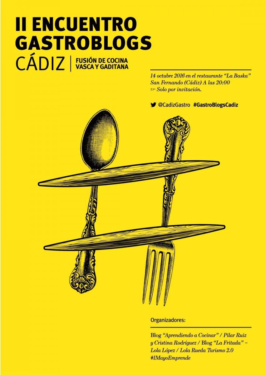 Cartel amarillo de II Encuentro Gastroblogs Cádiz,