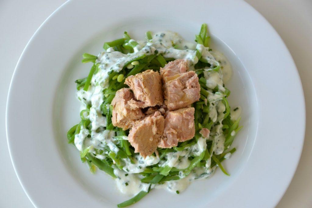 ensalada de vainas y atún rojo del cantábrico Olasagasti