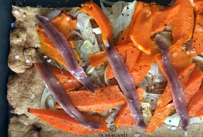 coca de calabaza y anchoas, receta de Conservas Olasagasti