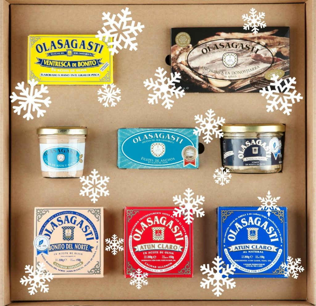 Selección de conservas Olasagasti para estuche navideño para foodies