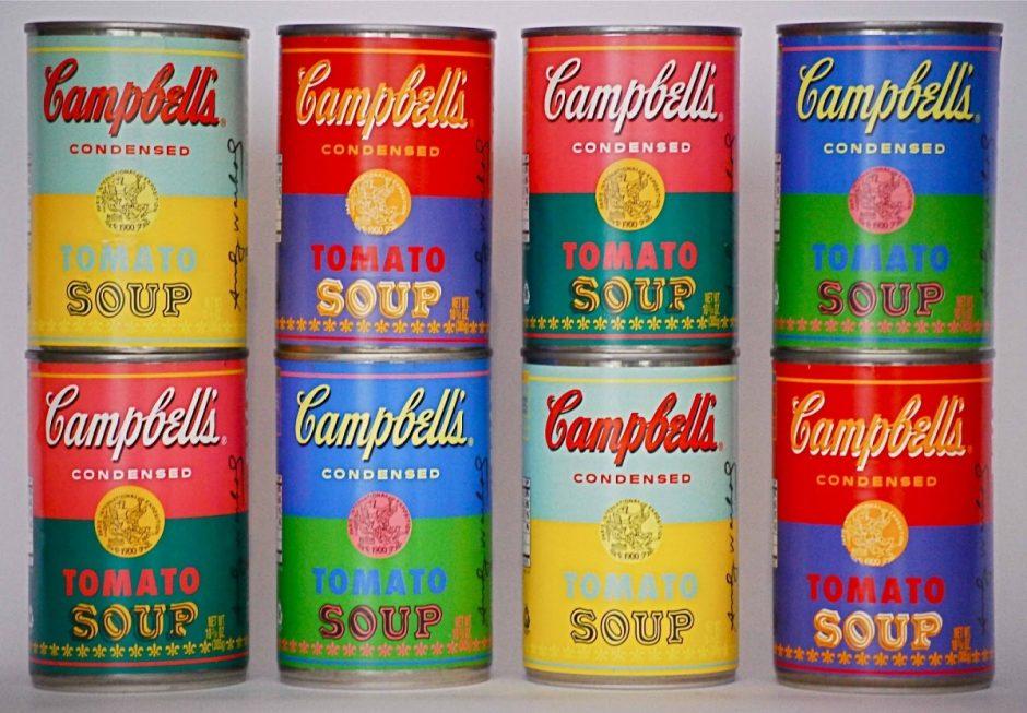 latas de colores de la sopa de la marca Campbells para explicar el origen de los tarros y las latas de conserva
