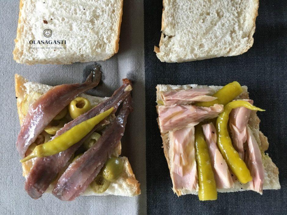 merienda olasagasti de bocadillos de bonito del norte y anchoas del Cantábrico