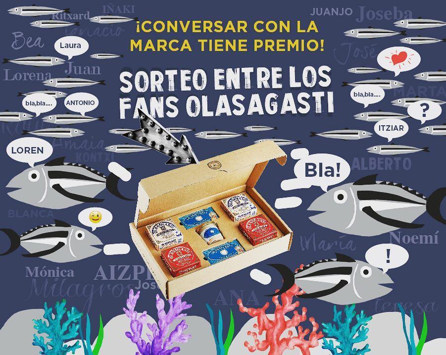 cartel de Olasagasti anunciando los Ganadores del lote Tradición por vuestra simpatía y participación