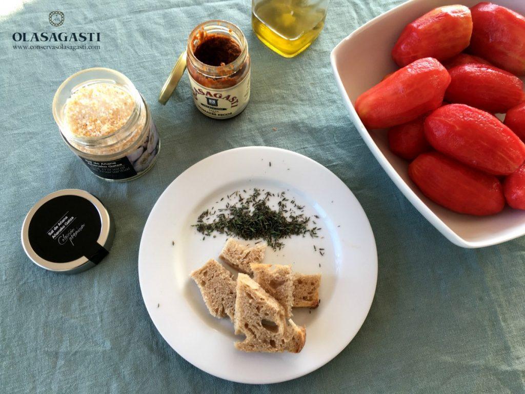Ingredientes para la sopa de tomate Olasagasti