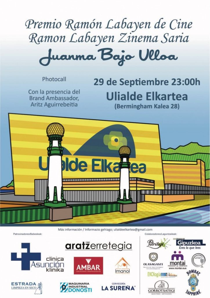 Cartel para el premio a Juanma Bajo Ulloa en Zinemaldia entregado por la sociedad Ulialde