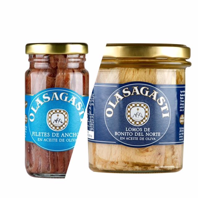 Anchoas y bonito en la renovación de etiquetas en los tarros Olasagasti