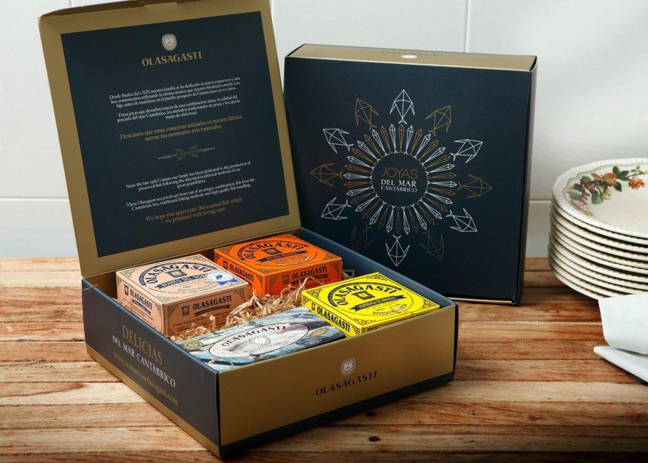 Lo mejor del Cantábrico en la caja Joya para regalar Conservas Olasagasti