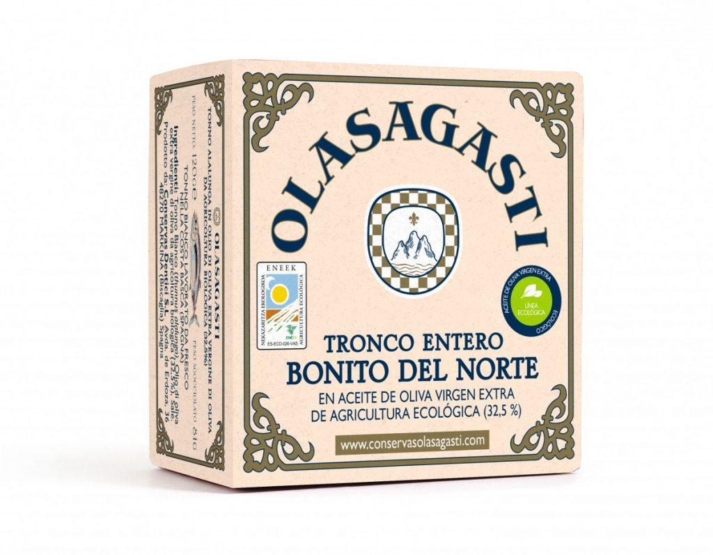 Estuche para la lata de 120 g de Bonito del Norte en aceite de oliva virgen extra Olasagasti que se presenta en Biocultura Barcelona 2018