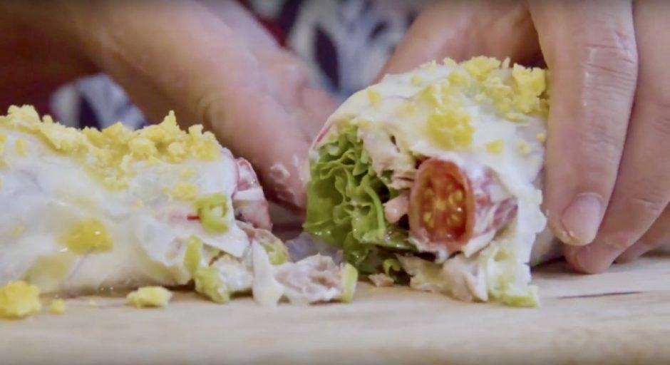 Wrap de ensalada mixta de gipsy chef para Olasagasti con atún rojo.
