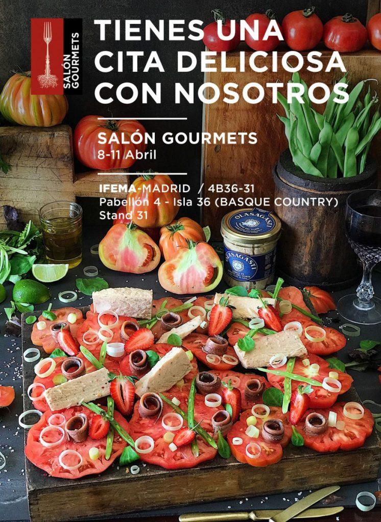 Cartel Olasagasti para salón gourmets y receta en el txoko.