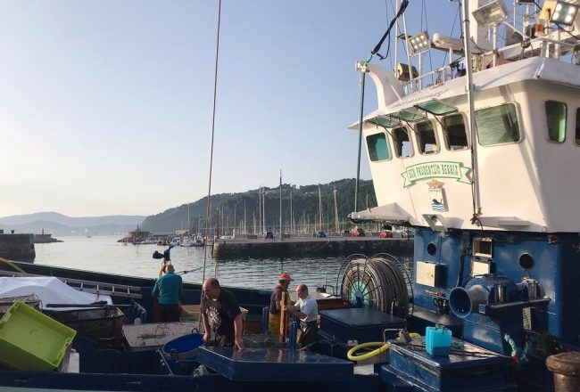 Vista de un barco desde el puerto pesquero de Getaria de Conservas Olasagasti.