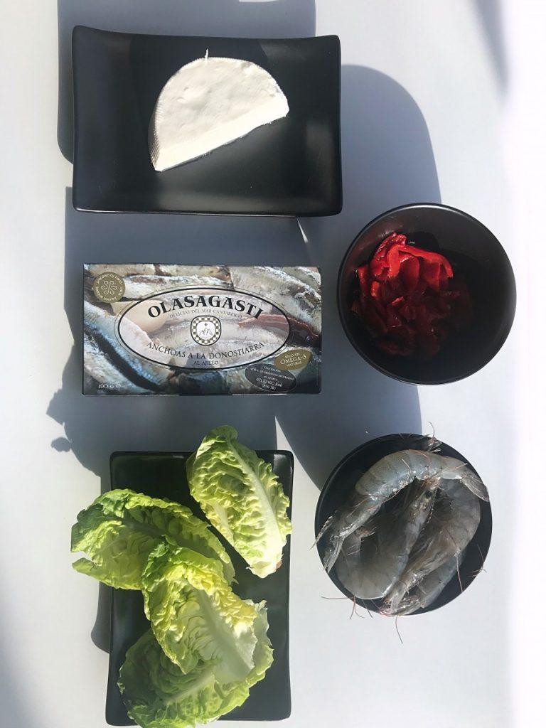 Ingredientes para la receta de cogollos con anchoas Olasagasti.