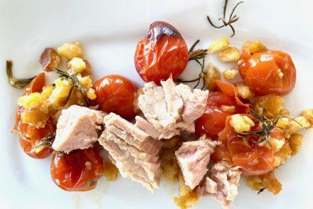 tomates cherry al horno y atun olasagasti en conserva