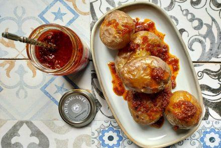 patatas en dos cocciones con salsa de tomates seos Olasagasti