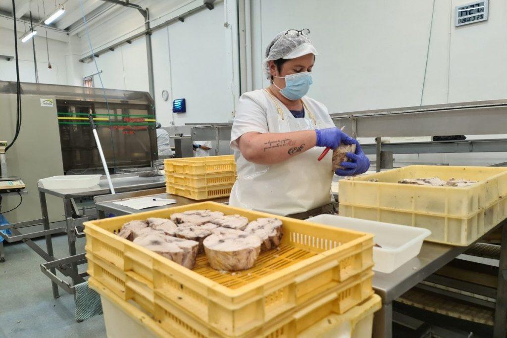 olasagasti premises, woman working bonito del norte by hand