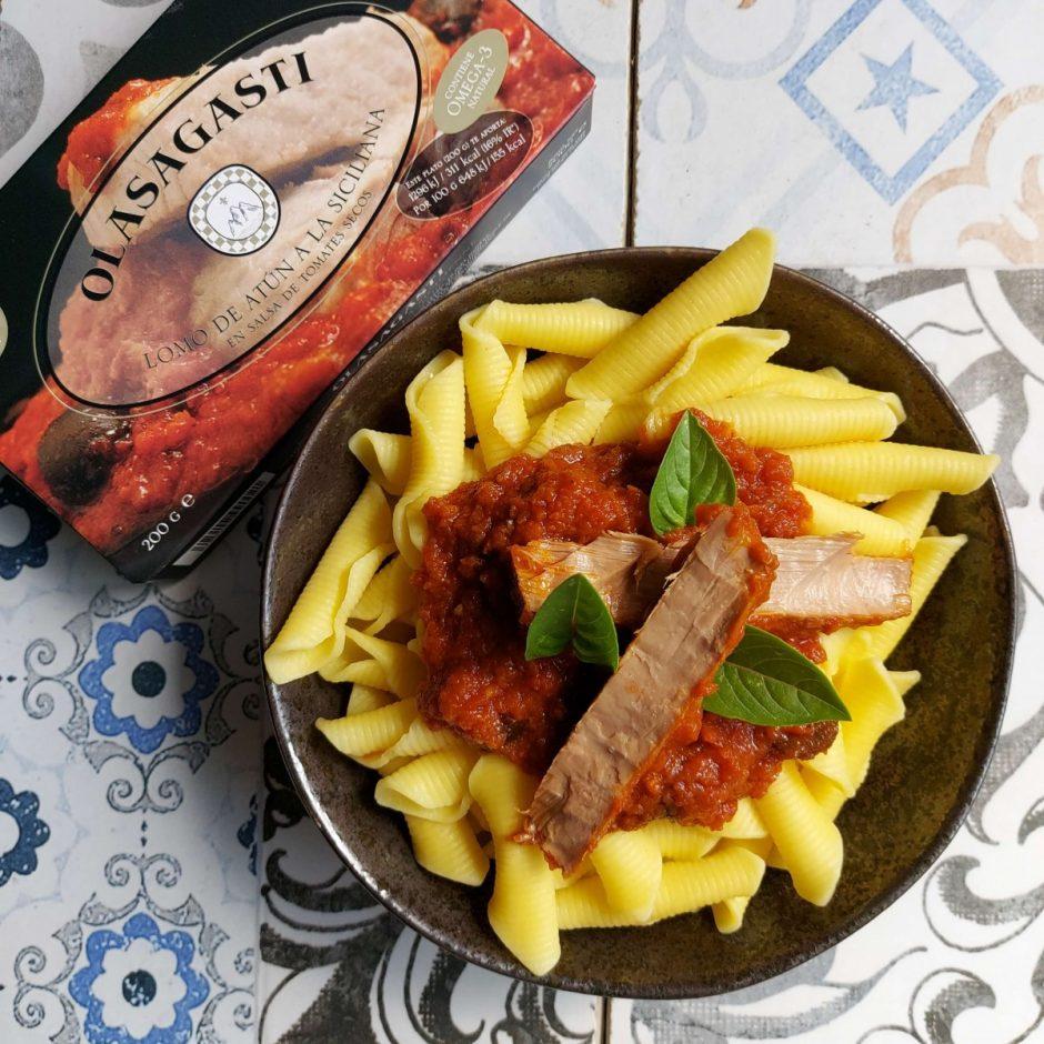Pasta y atún a la siciliana Olasagasti