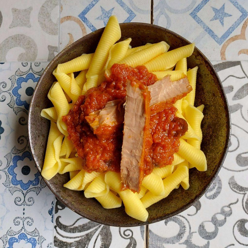 Macarrones y atún a la siciliana Olasagasti.