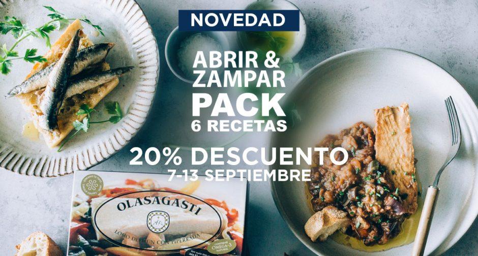 Nuevo pack de las 6 recetas de familia Abrir y Zampar Olasagasti